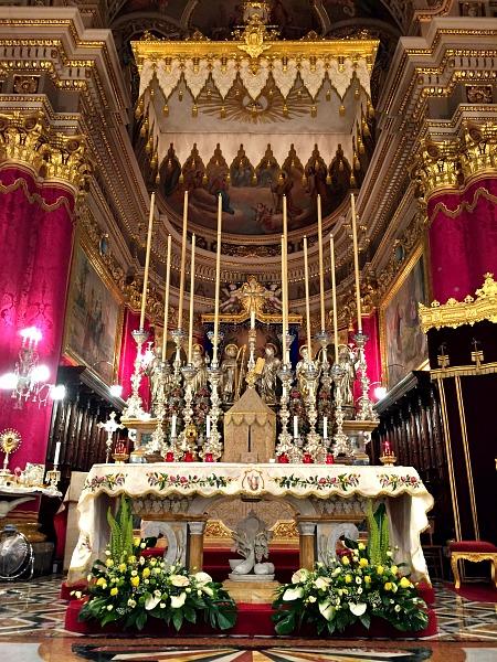 church altar decor during festa