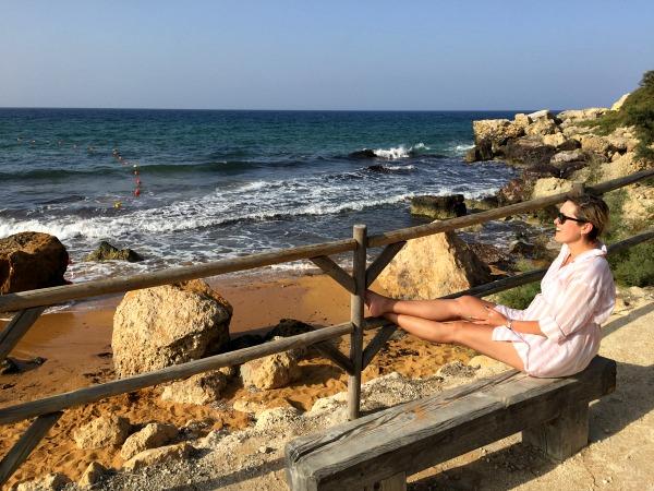 San Blas bench beach view