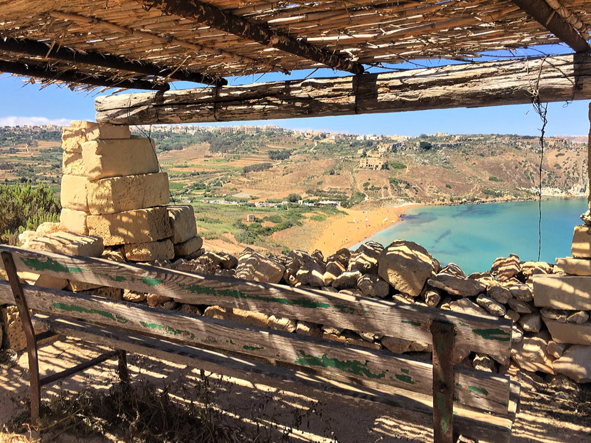 bench view gozo ramla bay